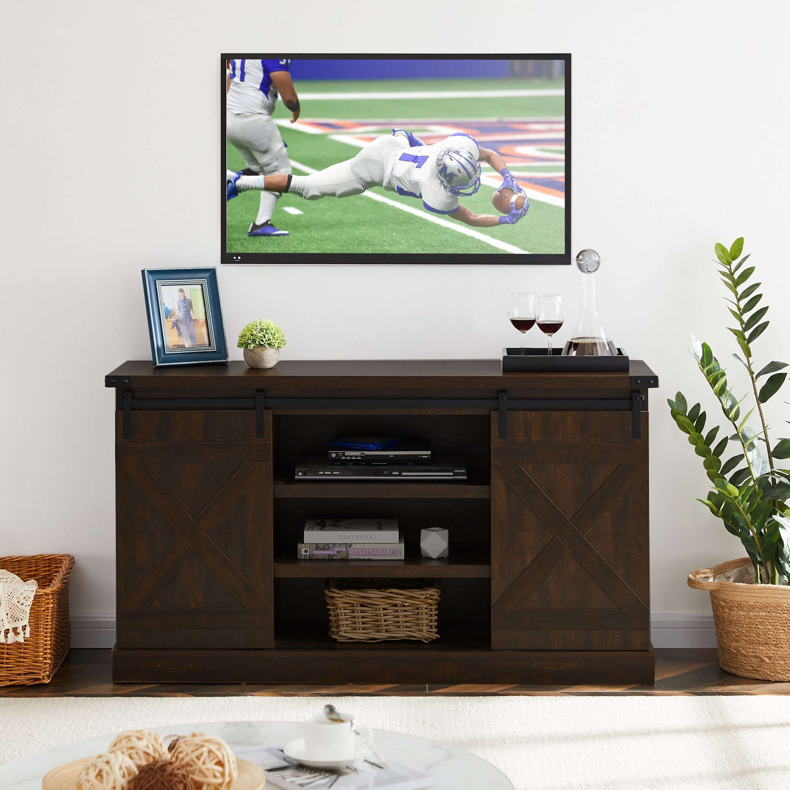 Tv Stand For 40 65 Inch Tv, Modern Farmhouse Tv Stand With Throughout Modern 2 Glass Door Corner Tv Stands (View 2 of 20)