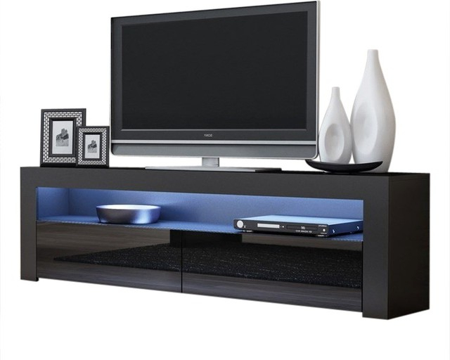 """Tv Stand Milano Classic Black Body Modern 65"""" Tv Stand Led Within 57'' Tv Stands With Led Lights Modern Entertainment Center (View 9 of 20)"""