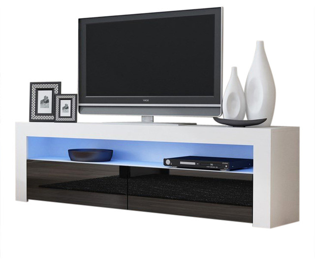 """Tv Stand Milano Classic White Body Modern 65"""" Tv Stand Led Pertaining To 57'' Tv Stands With Led Lights Modern Entertainment Center (View 4 of 20)"""