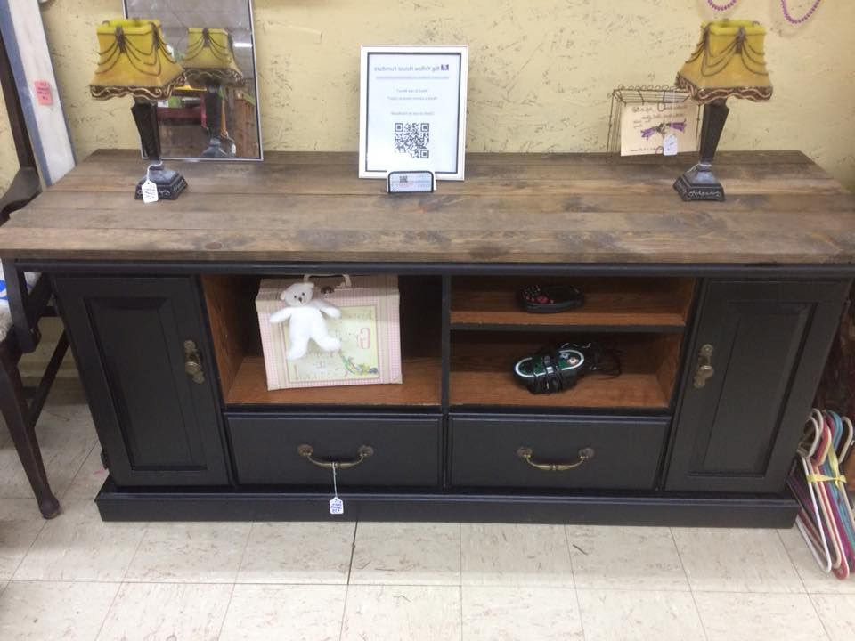Tv Stand. Painted. Redone. Rustic. Farmhouse. Black (View 2 of 20)