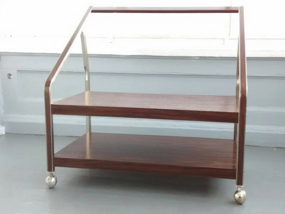 Tv Stand Tv Cart Metal Rolling Tv Stand Vintage Mid Regarding Rolling Tv Stands With Wheels With Adjustable Metal Shelf (View 15 of 20)