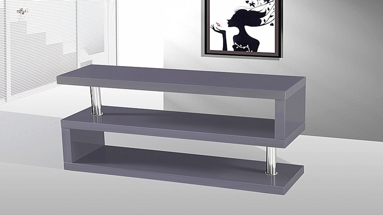 Tv Stand Unit In Grey High Gloss – Homegenies Throughout Delphi Grey Tv Stands (View 16 of 20)