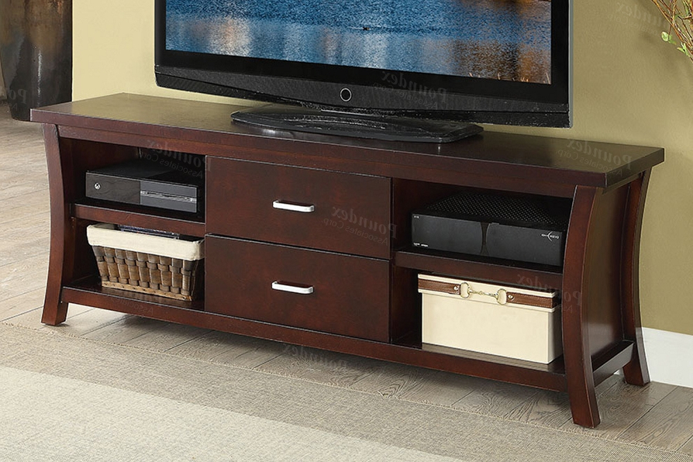 Tv Stand W/ Drawers & Shelving In Espresso With Tv Stands Cabinet Media Console Shelves 2 Drawers With Led Light (View 13 of 20)