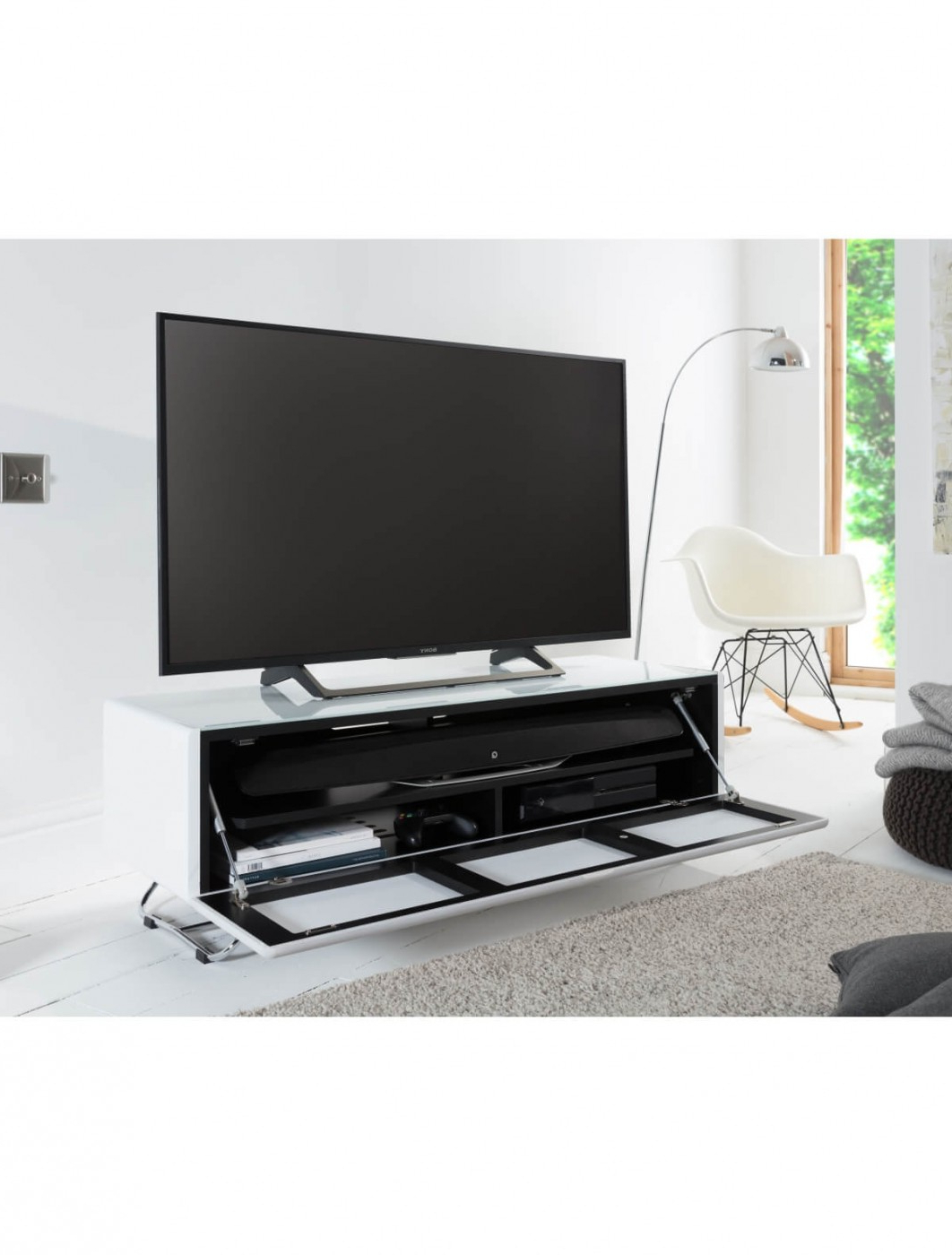 Tv Stand White Chromium Concept 1200mm Cro2 1200cpt Wh Pertaining To 57'' Tv Stands With Open Glass Shelves Gray & Black Finsh (View 5 of 20)