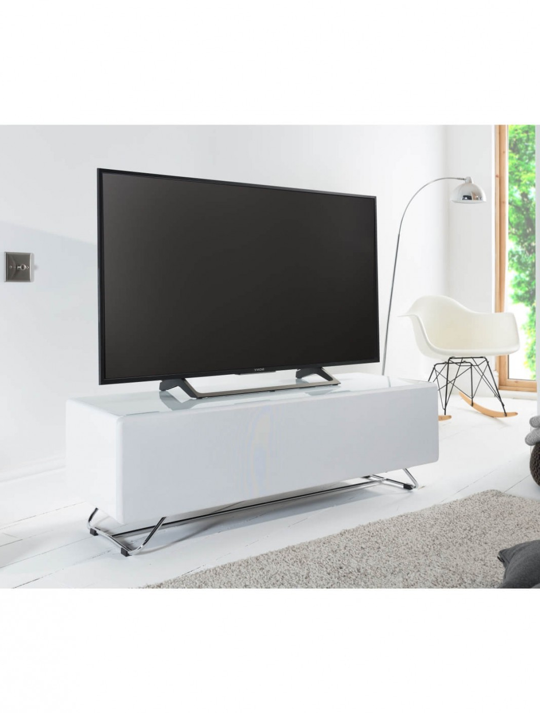 Tv Stand White Chromium Concept 1200mm Cro2 1200cpt Wh Within 57'' Tv Stands With Open Glass Shelves Gray & Black Finsh (View 3 of 20)