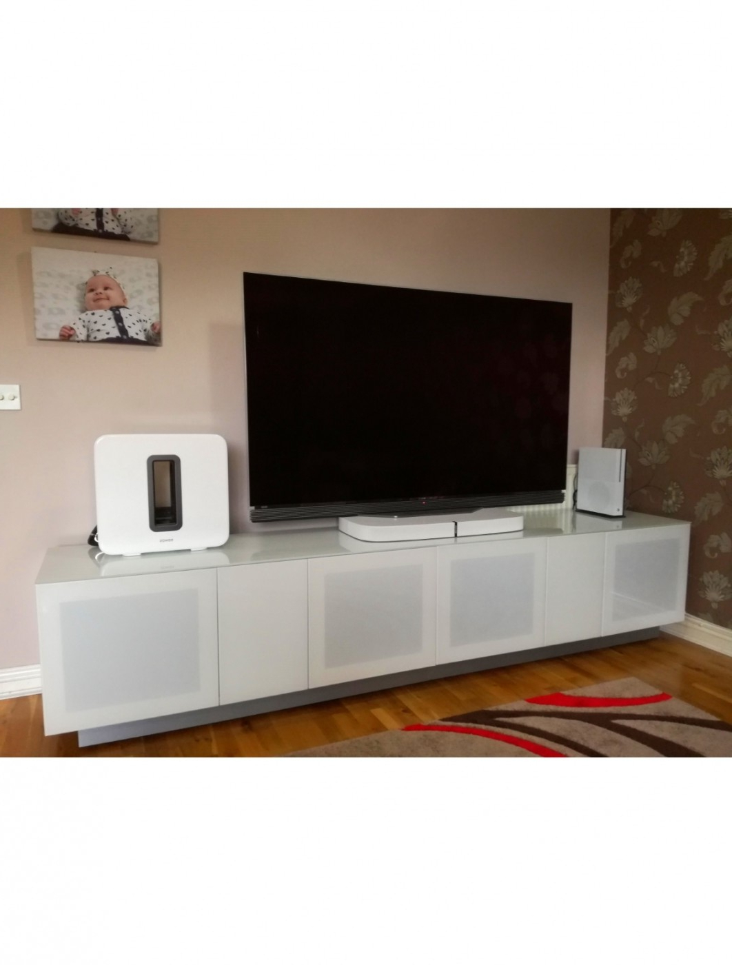 Tv Stand White Element 2500xl Modular Tv Cabinet Emt2500xl Inside 57'' Tv Stands With Open Glass Shelves Gray & Black Finsh (View 10 of 20)