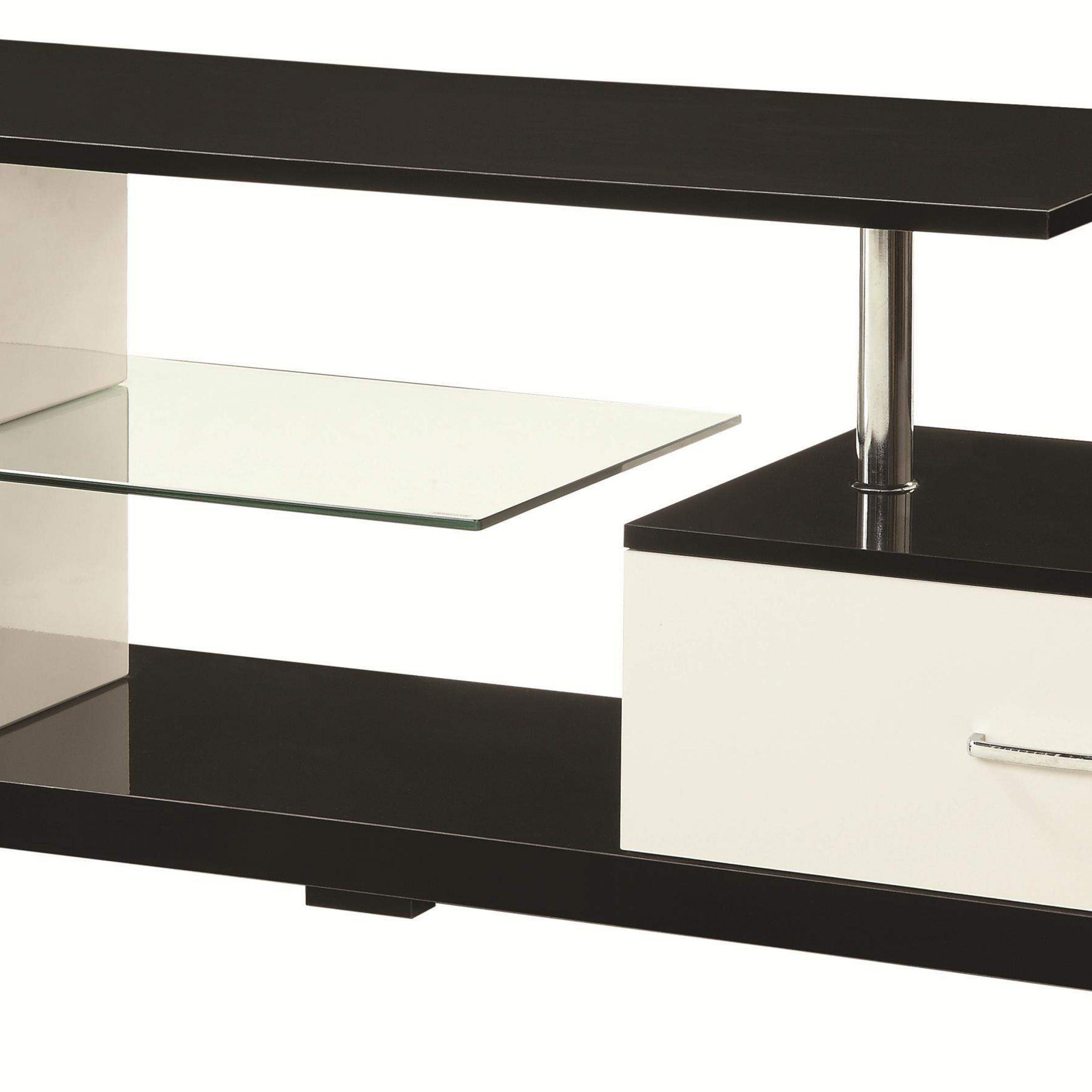 Tv Stands Black, Silver And White Tv Stand With Drawer And Within Rfiver Black Tabletop Tv Stands Glass Base (View 2 of 20)