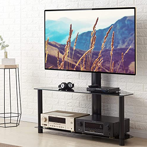 Tv Stands Home & Kitchen Rfiver Universal Tv Entertainment Within Rfiver Modern Black Floor Tv Stands (View 2 of 20)