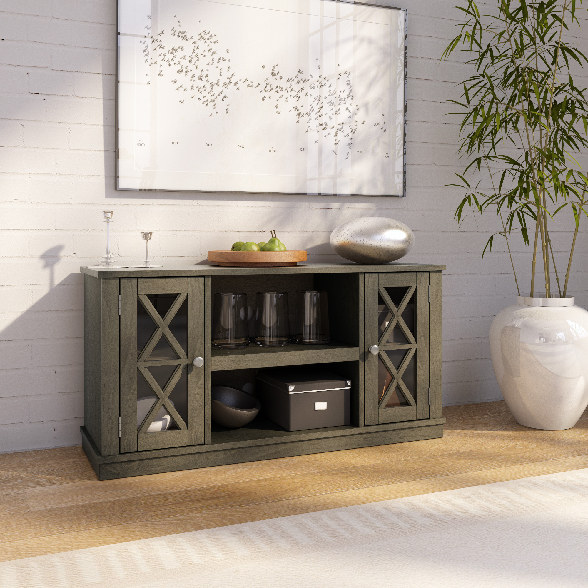 """Twin Star Home Stanton Ridge Spanish Gray Tv Stand For Tvs Throughout Spellman Tv Stands For Tvs Up To 55"""" (View 10 of 20)"""