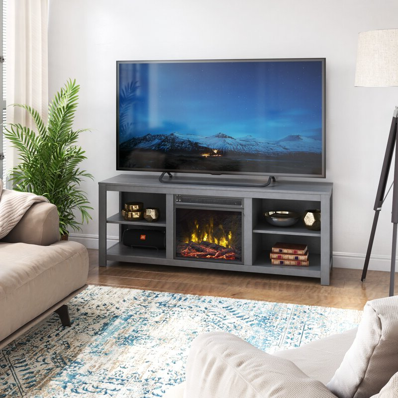 """Twin Star Home Tv Stand For Tvs Up To 60"""" With Electric Throughout Hetton Tv Stands For Tvs Up To 70"""" With Fireplace Included (View 7 of 20)"""