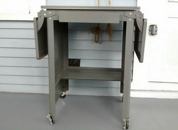 Typewriter Table Laptop Desk Metal Table With Drawer Within Large Rolling Tv Stands On Wheels With Black Finish Metal Shelf (View 1 of 20)