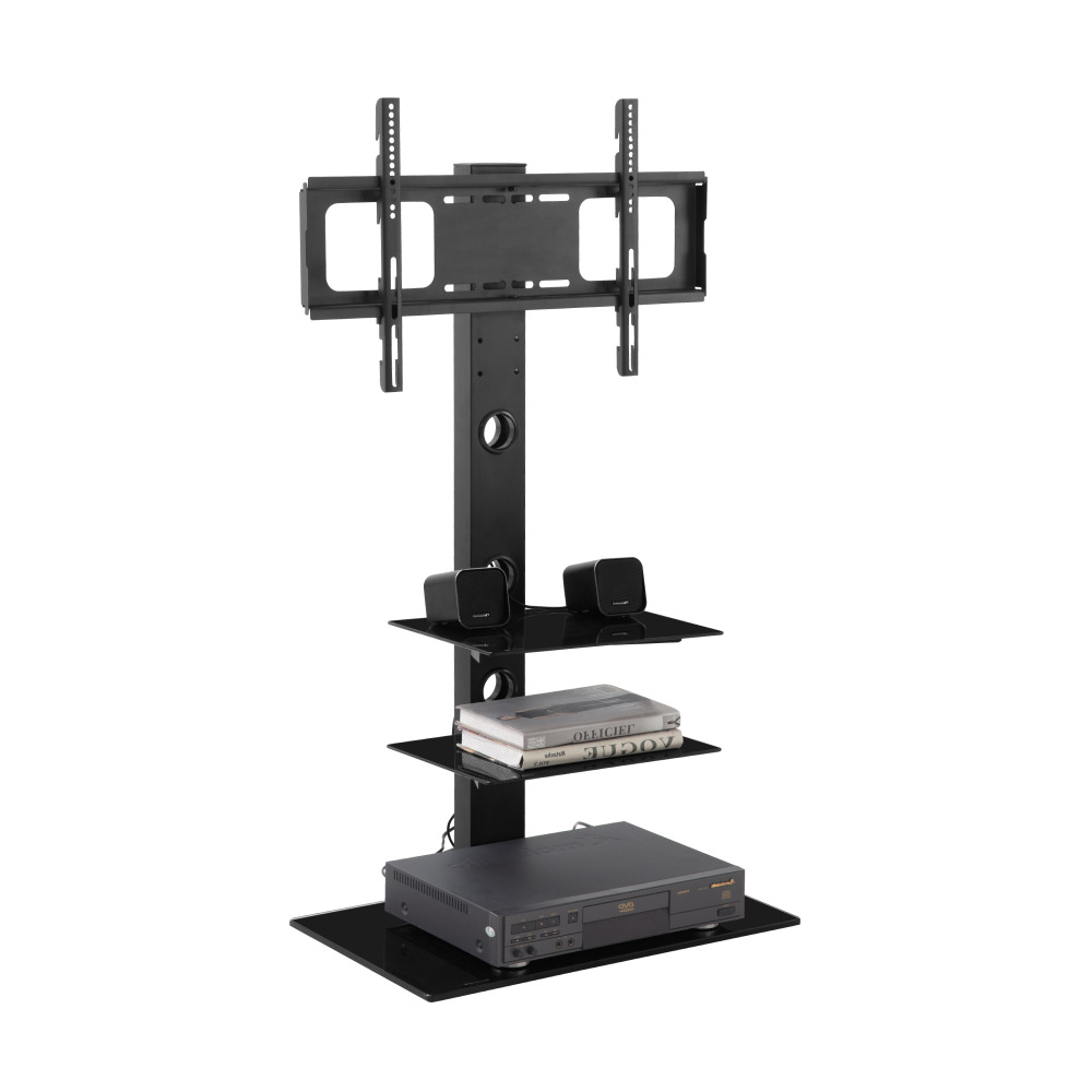 """Ubesgoo Floor Tv Stand Mount For 32 65"""" Tv Screen With Inside Floor Tv Stands With Swivel Mount And Tempered Glass Shelves For Storage (View 13 of 20)"""
