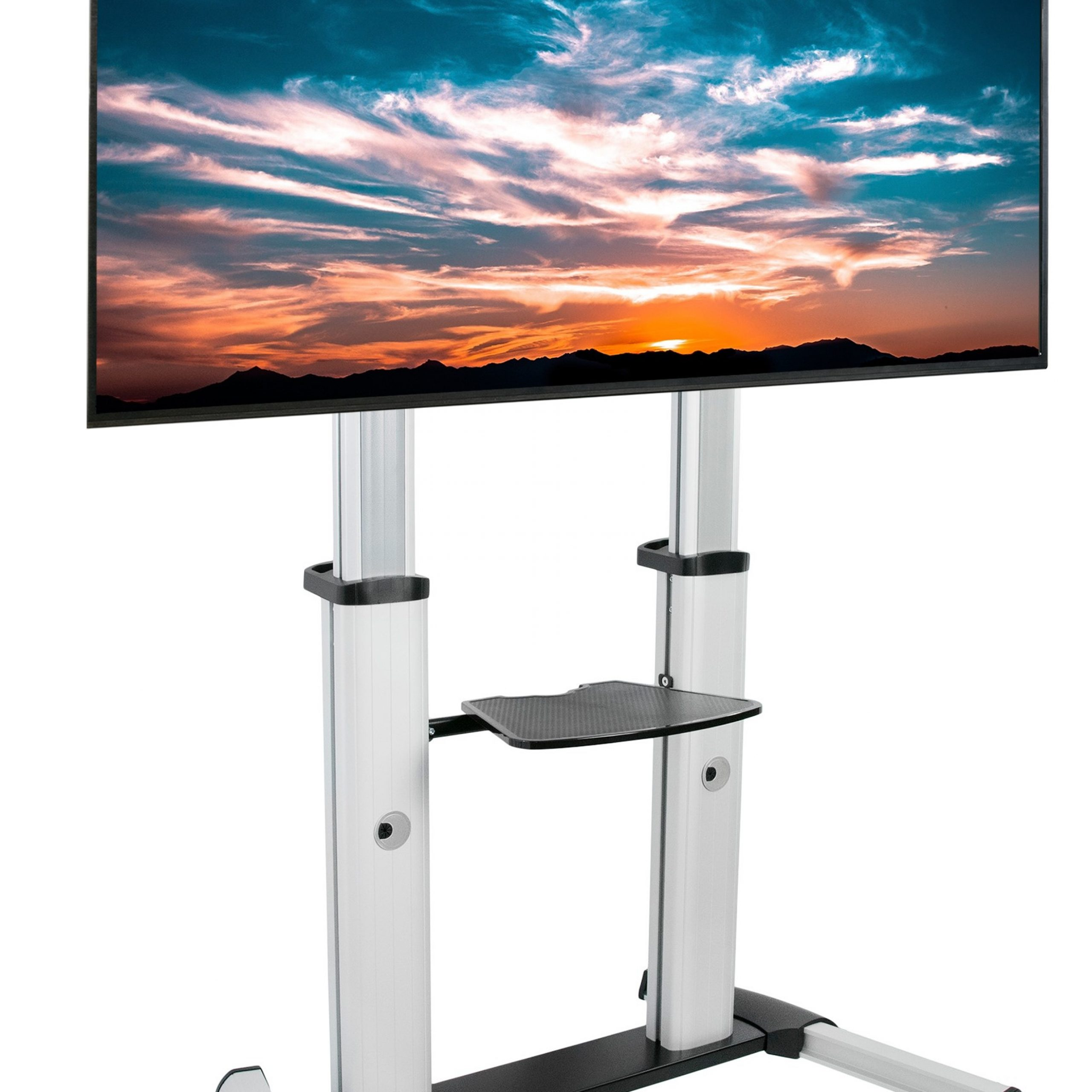 """Ultra Heavy Duty Mobile Stand Tv Cart Mount   Fits 60"""" To Pertaining To Mobile Tv Stands With Lockable Wheels For Corner (View 6 of 20)"""