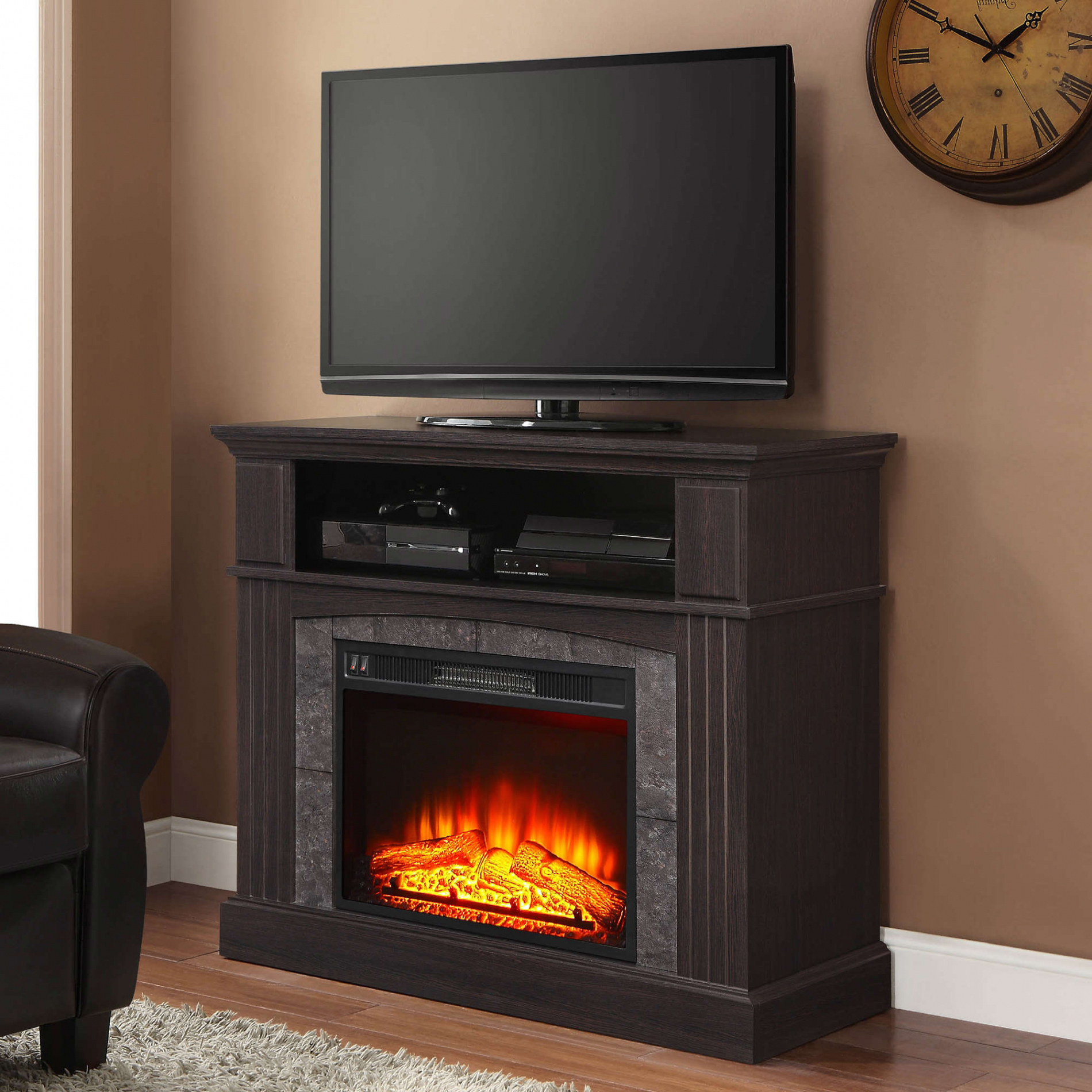 Unique Whalen Media Fireplace Console   Ch20 Webmaster Within Whalen Shelf Tv Stands With Floater Mount In Weathered Dark Pine Finish (View 14 of 20)