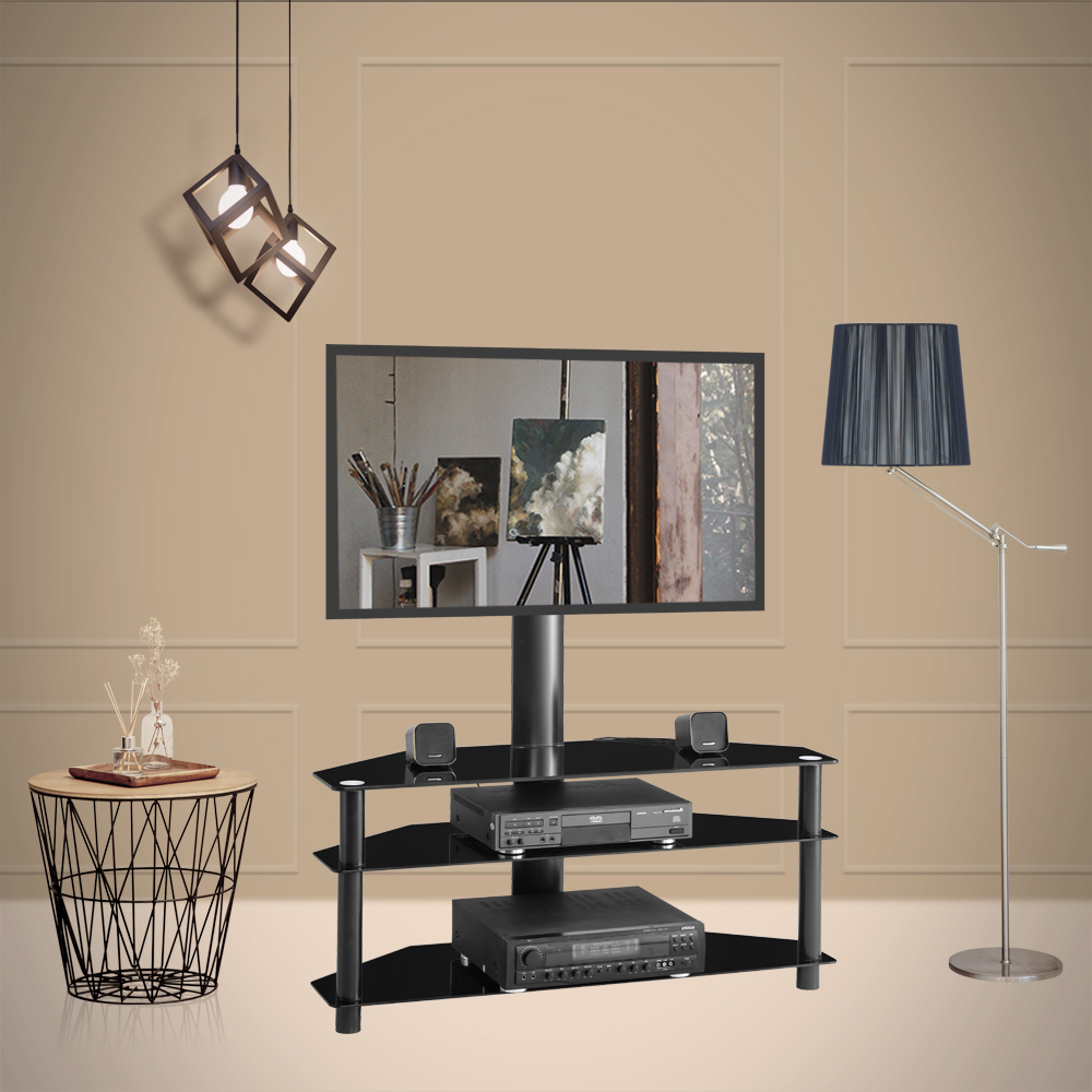 Universal Swivel Floor Tv Stand, Height And Angle Inside Modern Floor Tv Stands With Swivel Metal Mount (View 4 of 20)