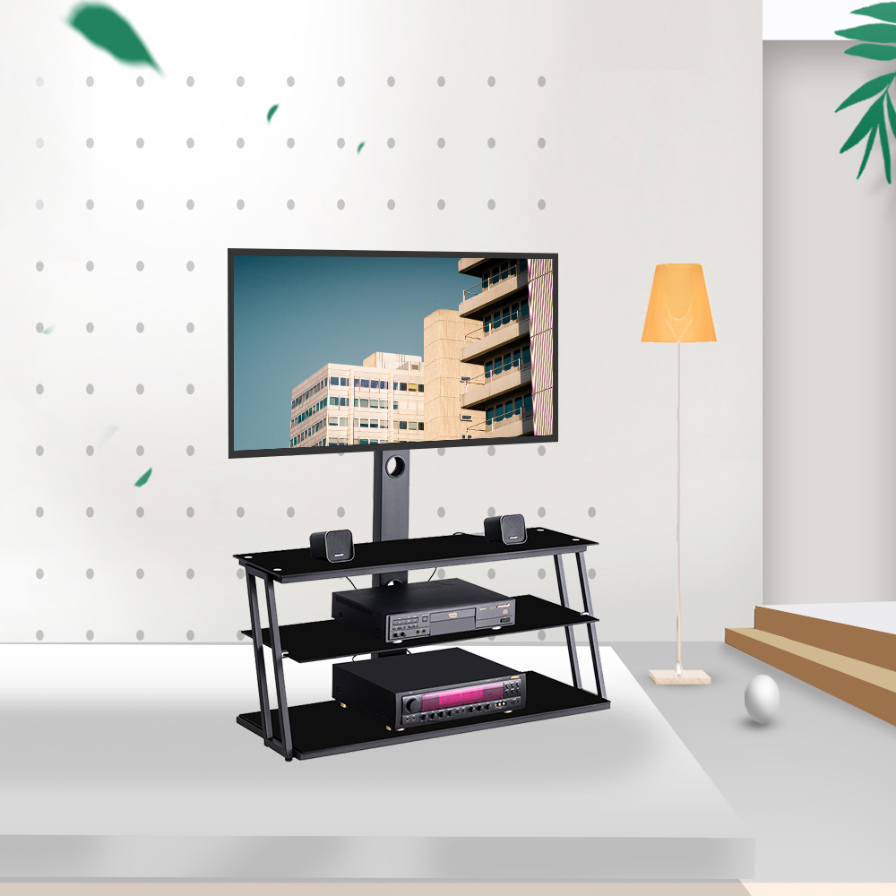 """Universal Tv Stand, Angle And Height Adjustable 3 Tier In Whalen Furniture Black Tv Stands For 65"""" Flat Panel Tvs With Tempered Glass Shelves (View 2 of 20)"""