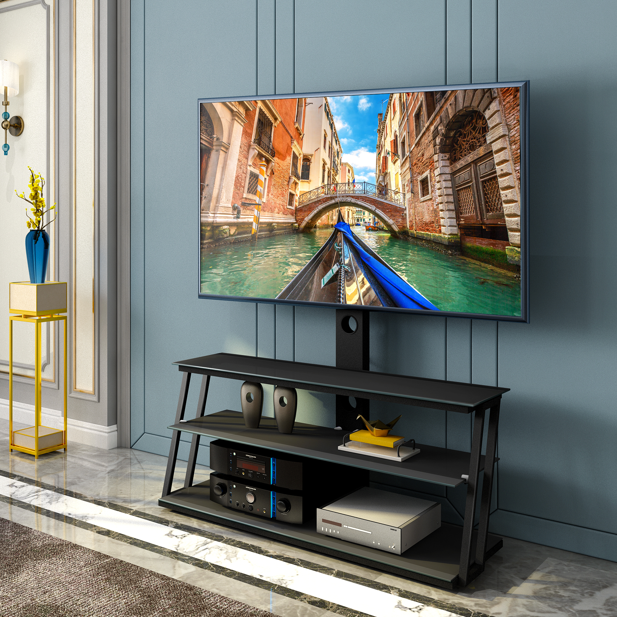 """Universal Tv Stand, Angle And Height Adjustable 3 Tier With Glass Shelves Tv Stands For Tvs Up To 65"""" (View 18 of 20)"""