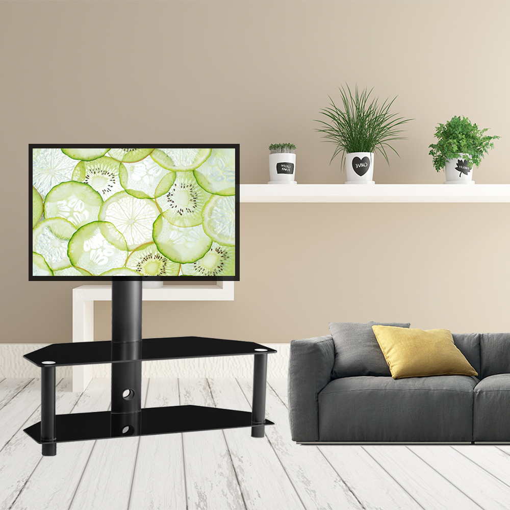 """Universal Tv Stand, Swivel Corner Tv Stand With Mount For Pertaining To Corner Tv Stands For Tvs Up To 43"""" Black (View 18 of 20)"""