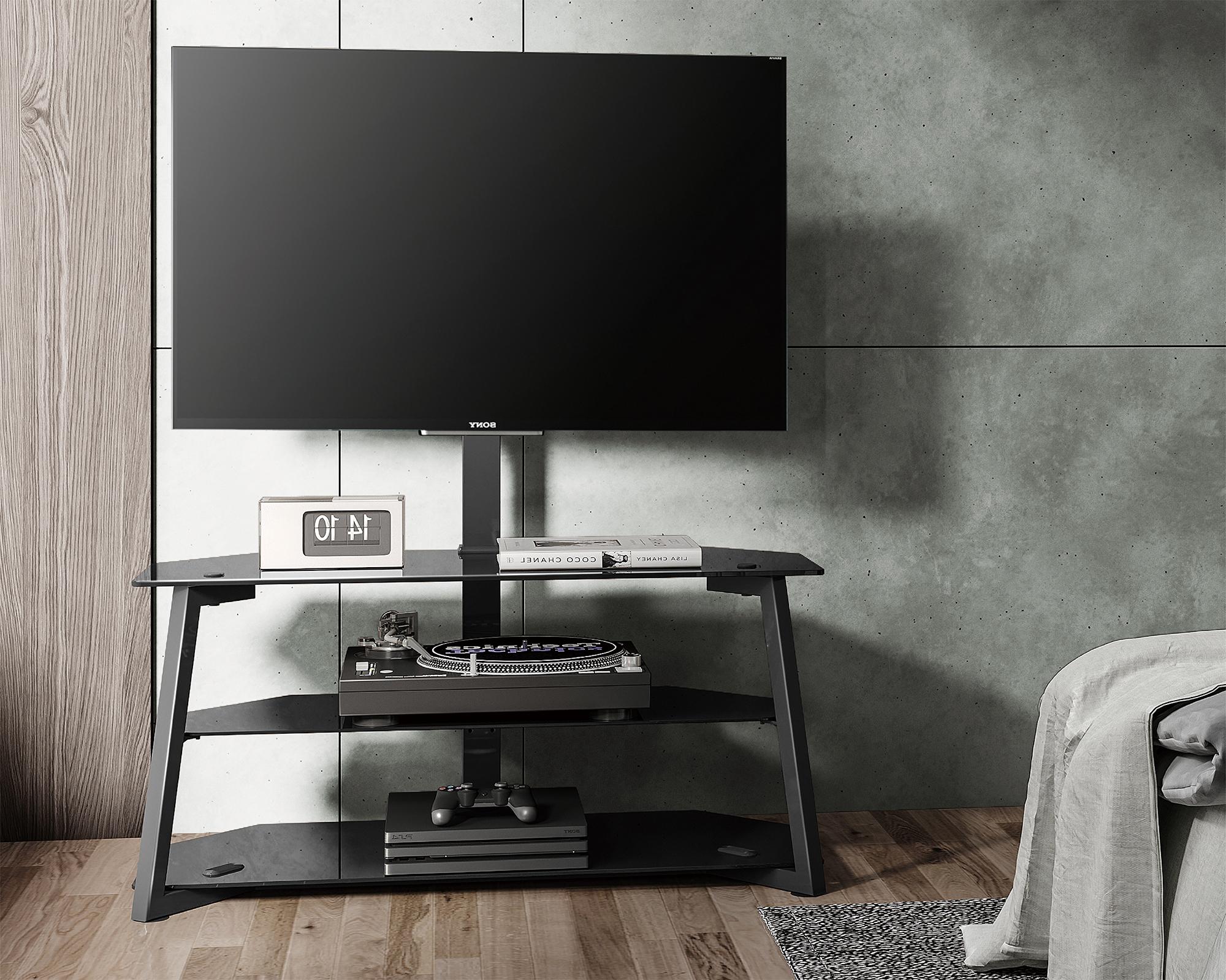 Universal Tv Stand With Mount For Modern Floor Corner Regarding Rfiver Modern Black Floor Tv Stands (View 13 of 20)