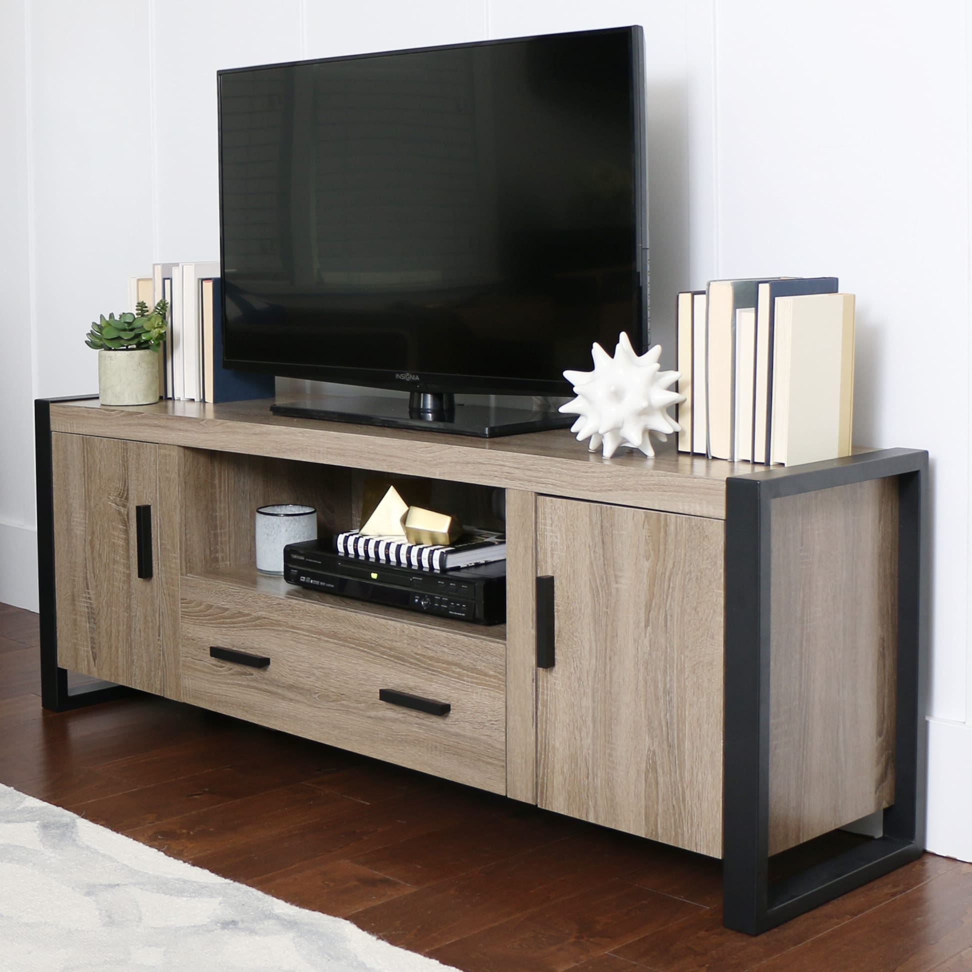 Urban Blend 60 Inch Tv Stand – Ash Grey/blackwalker Edison Intended For Walker Edison Contemporary Tall Tv Stands (View 9 of 20)