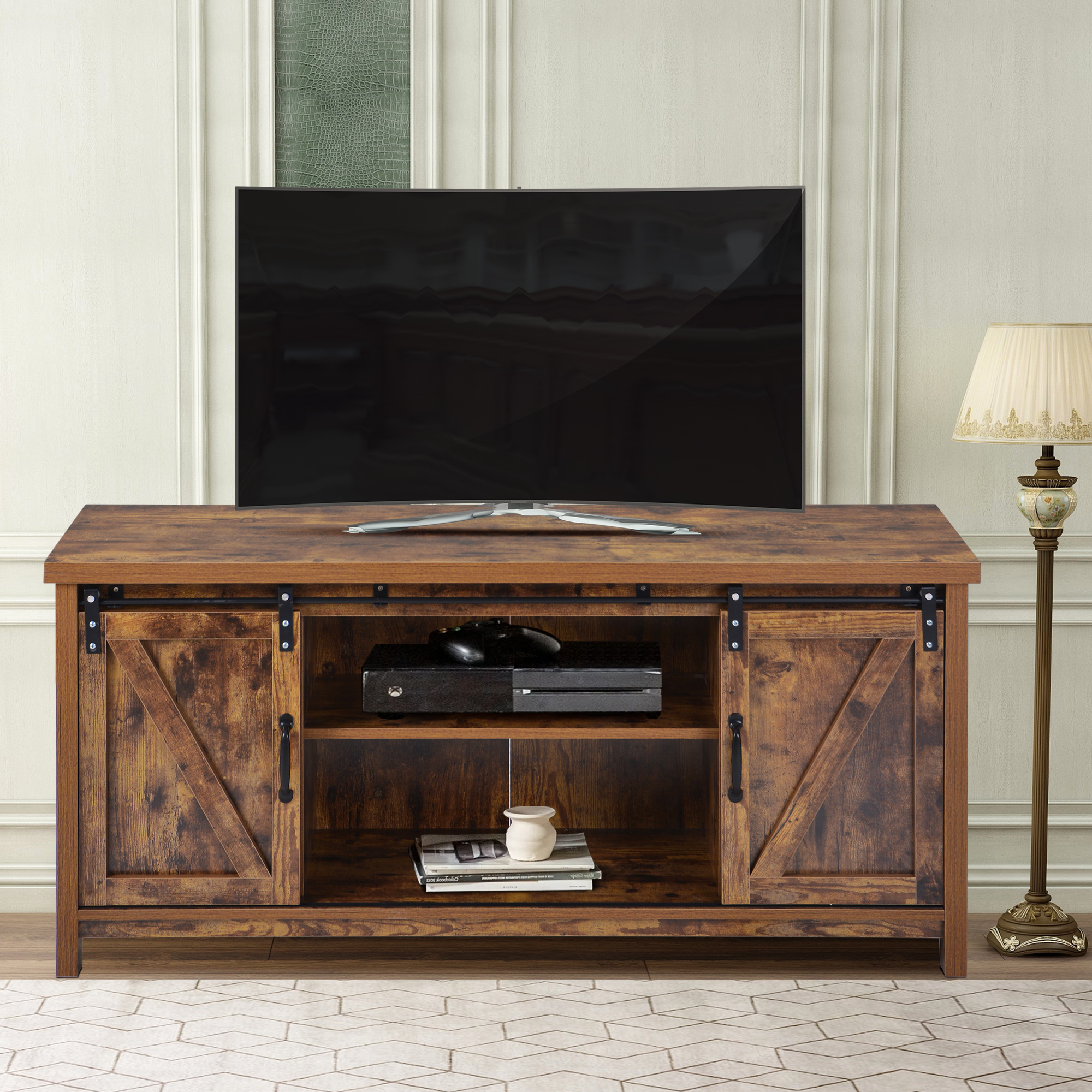 Urhomepro Corner Tv Stand, Modern Farmhouse Barn Door Tv Intended For Barn Door Wood Tv Stands (View 4 of 20)