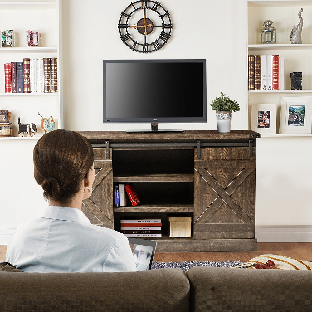 Urhomepro Corner Tv Stand, Modern Farmhouse Barn Door Tv With Regard To Corner Entertainment Tv Stands (View 7 of 20)