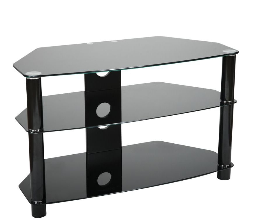 Valufurniture B800b Brisa 800mm Black Glass Tv Stand For In Dillon Black Tv Unit Stands (View 15 of 20)