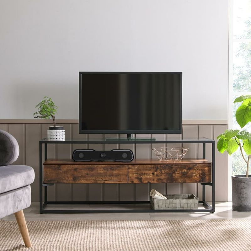 Vasagle Tv Cabinet For Up To 55 Inch Tvs, Tv Console With Regarding Tv Stands Cabinet Media Console Shelves 2 Drawers With Led Light (View 2 of 20)