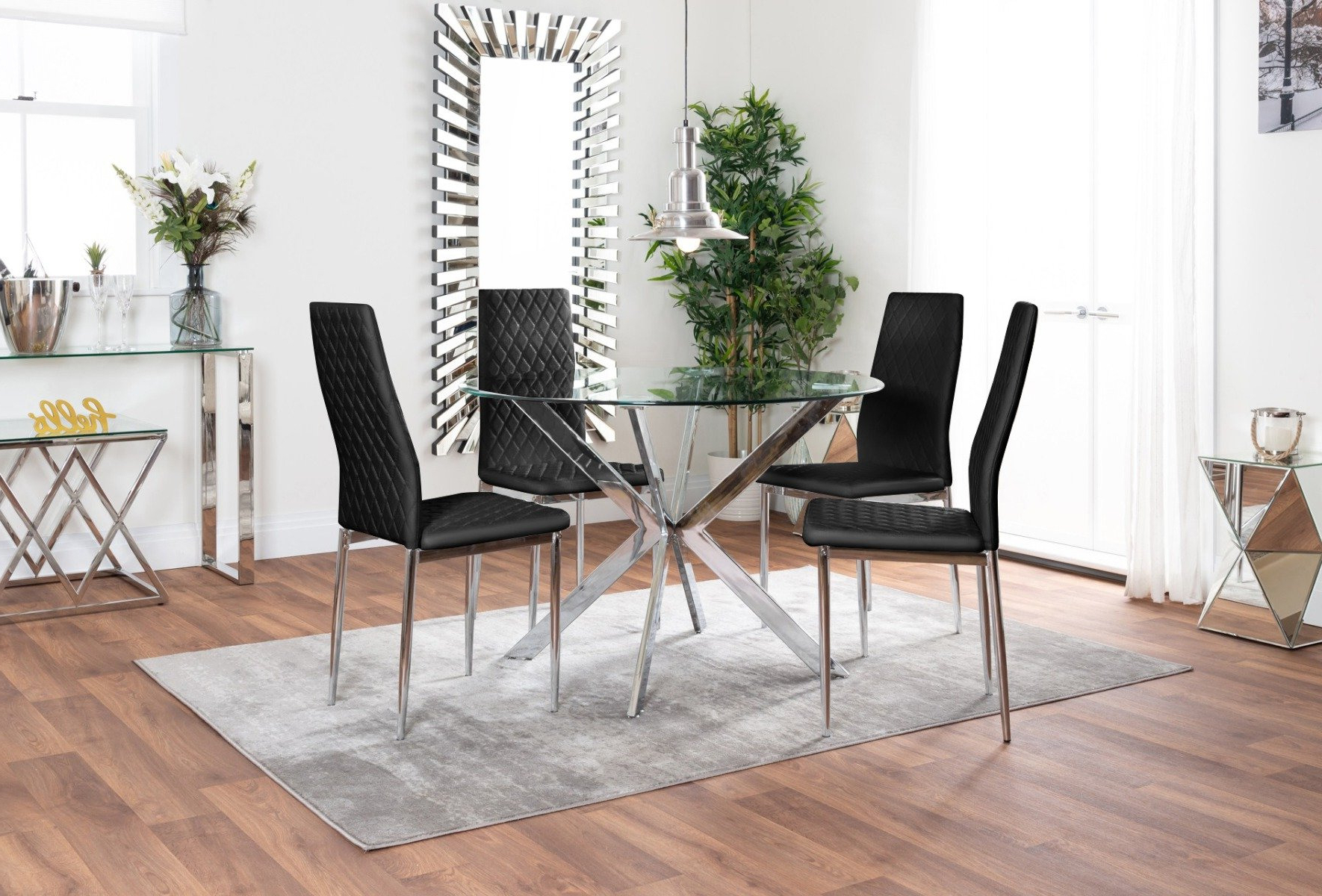 Venice Glass Chrome Table & 4 Milan Chairs | Furniturebox Throughout Milan Glass Tv Stands (View 11 of 20)