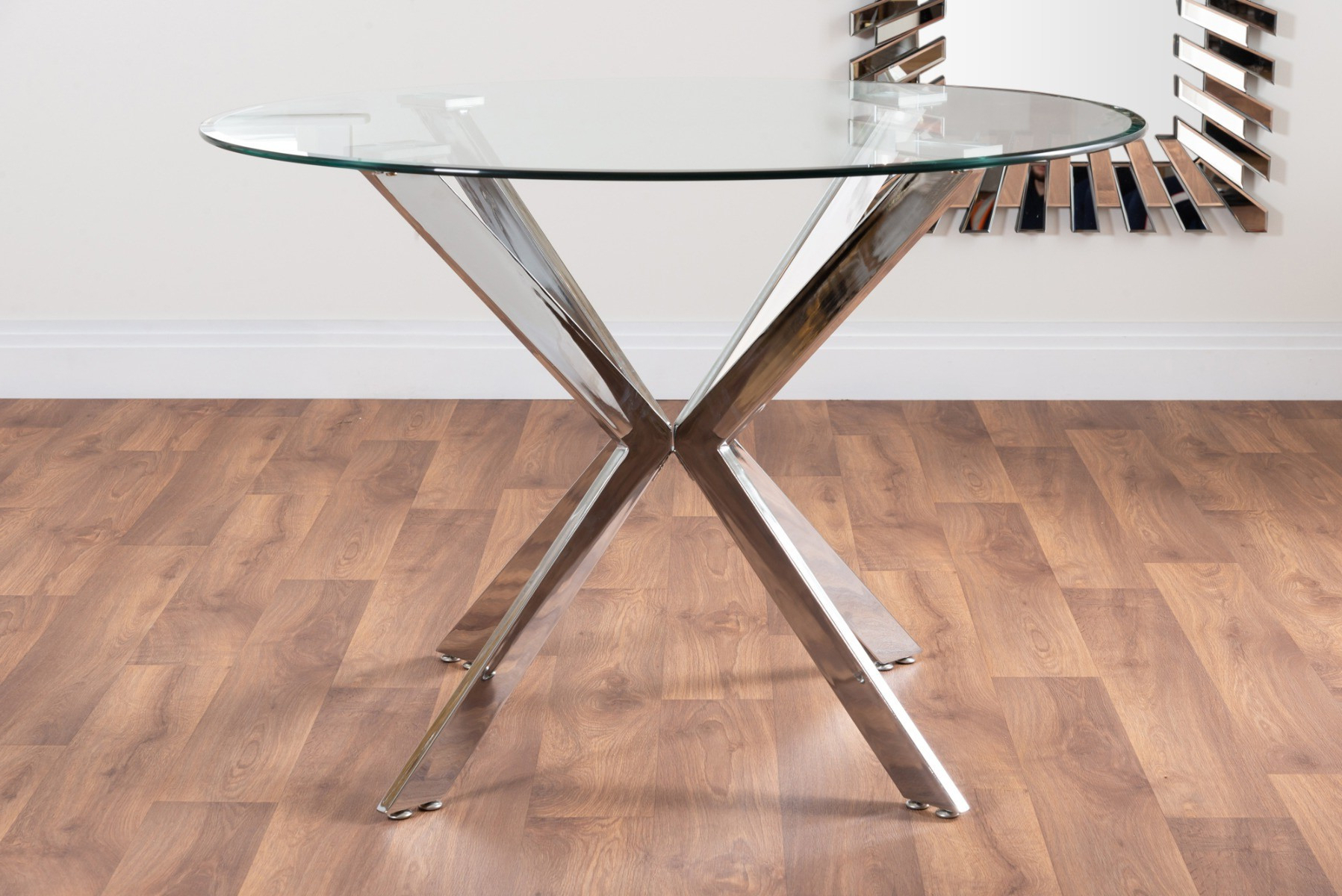 Venice Glass Chrome Table & 4 Milan Chairs | Furniturebox With Milan Glass Tv Stands (View 12 of 20)