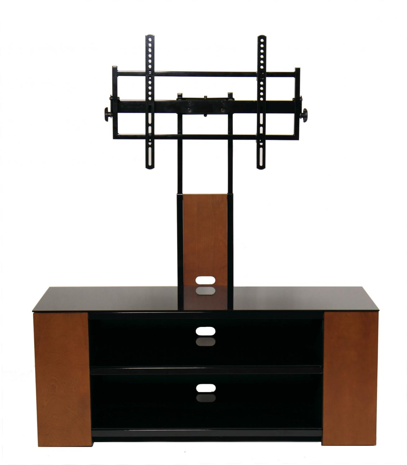 Versatile Tv Stand With Multimedia Storage Cabinet For Up In Modern Mobile Rolling Tv Stands With Metal Shelf Black Finish (View 7 of 20)