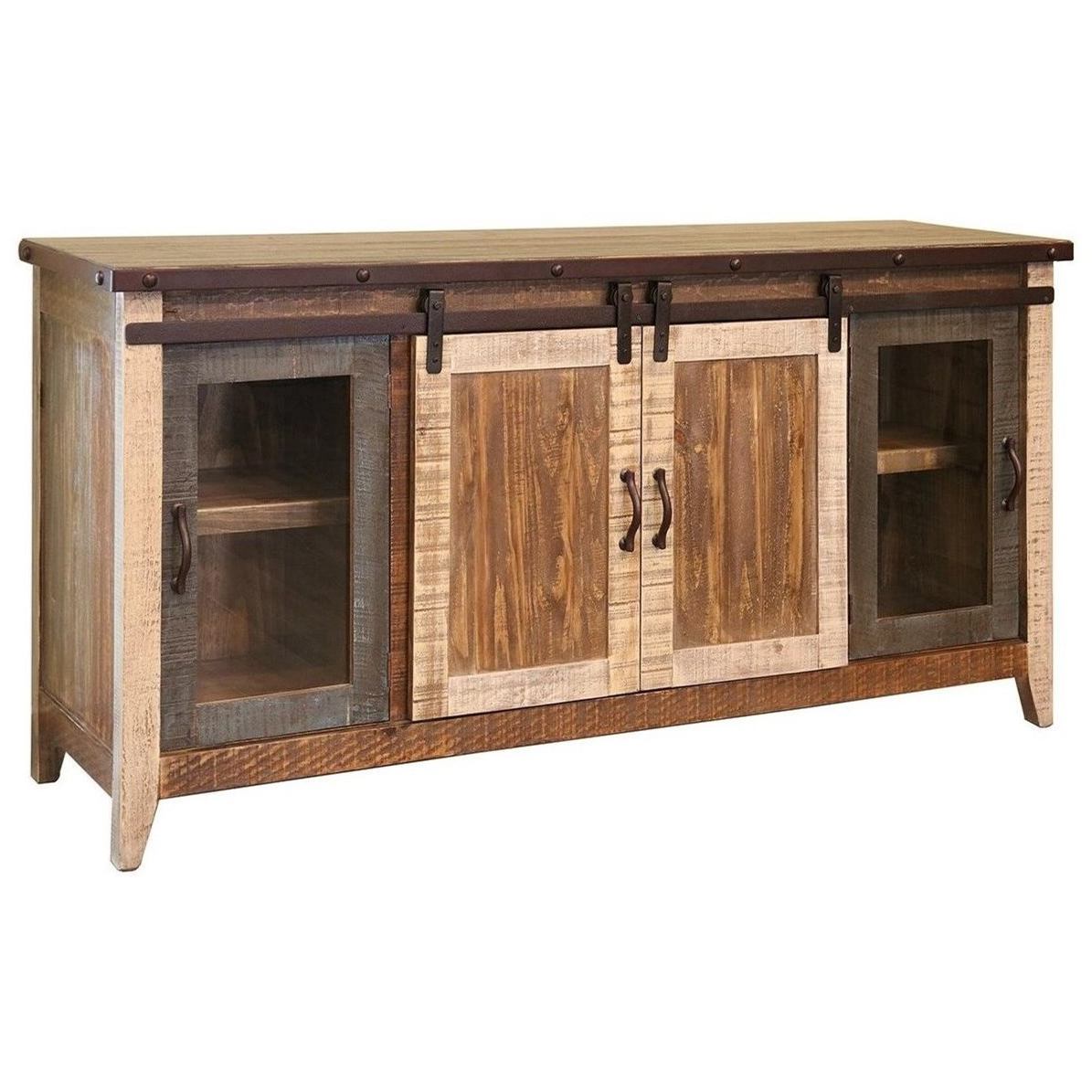 """Vfm Signature 900 Antique Rustic 70"""" Tv Stand With Sliding Intended For Robinson Rustic Farmhouse Sliding Barn Door Corner Tv Stands (View 11 of 20)"""