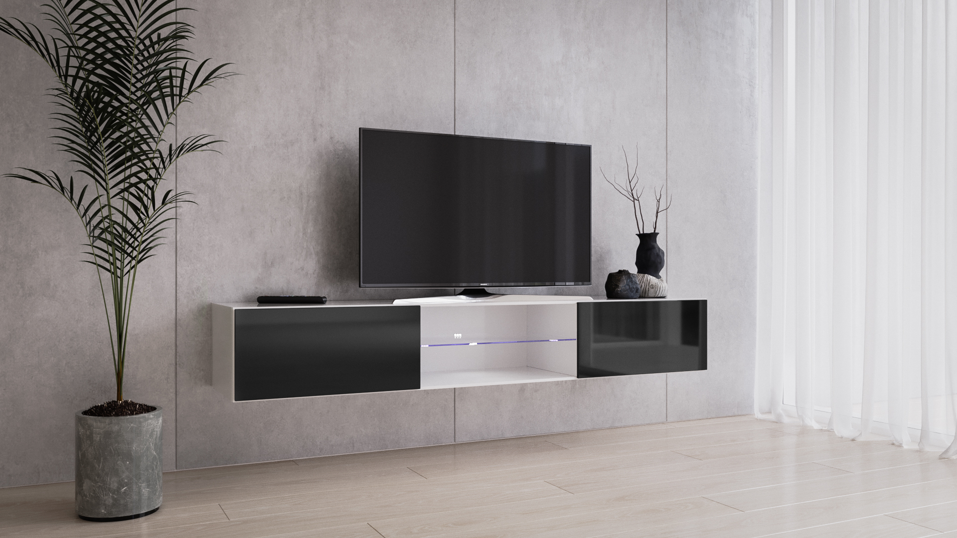 Vigo Glass Tv Stand White/ Black Floating Tv Stand For Up Intended For Rfiver Black Tabletop Tv Stands Glass Base (View 16 of 20)