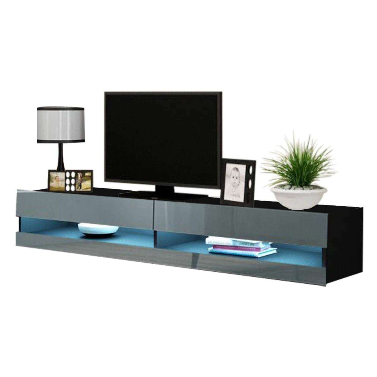 """Vigo New 180 Led Wall Mounted 71"""" Floating Tv Stand, Black Inside 57'' Led Tv Stands Cabinet (View 17 of 20)"""
