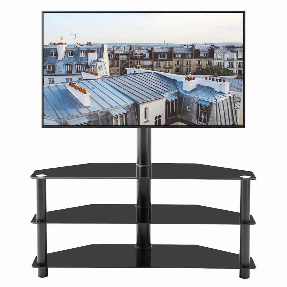 "Vik Tech Modern Floor Tv Stand For Tvs Up To 32 65"" Wide Regarding Rfiver Modern Black Floor Tv Stands (View 8 of 20)"