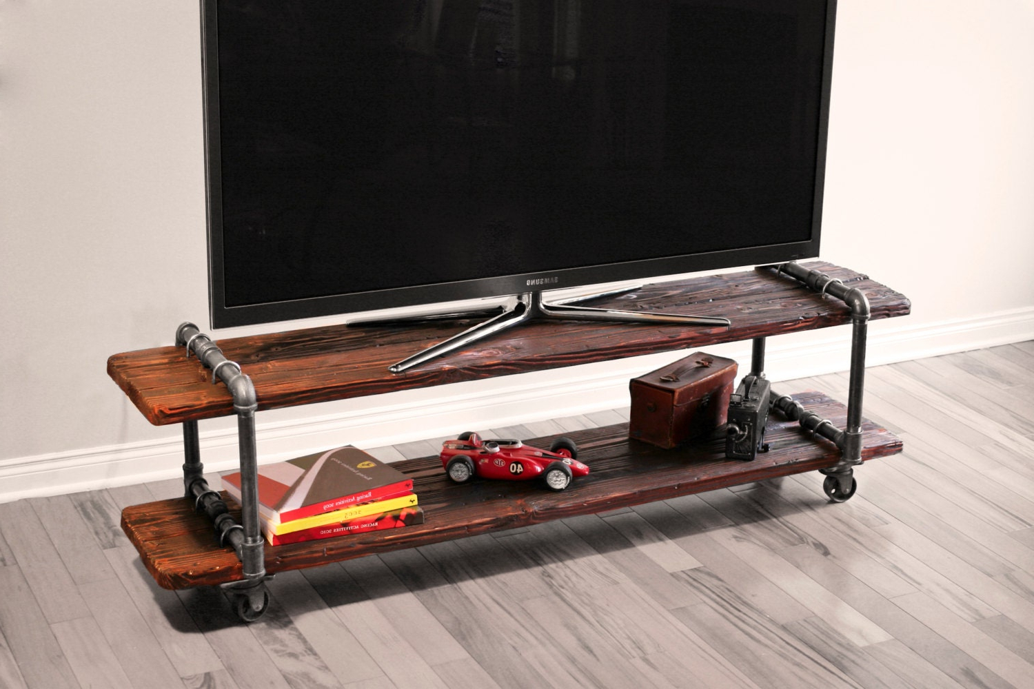 Vintage Industrial Cast Iron Pipe Table Tv Stand For Modern Mobile Rolling Tv Stands With Metal Shelf Black Finish (View 3 of 20)