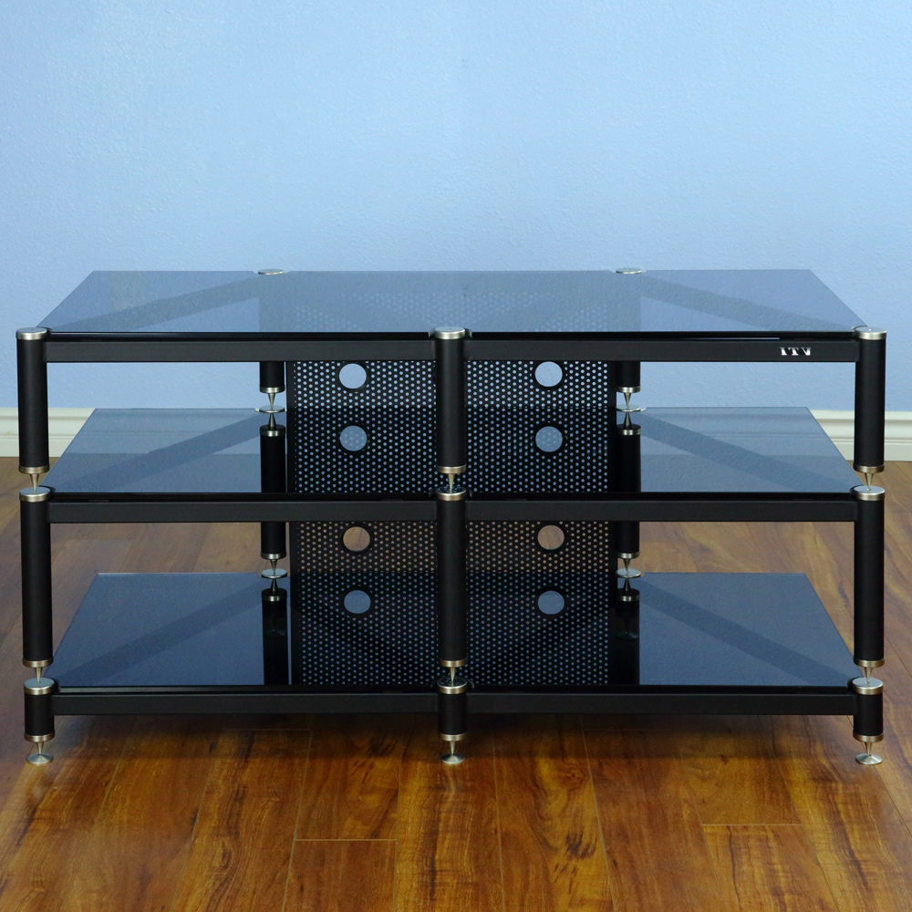 """Vti Blg503 Series – 3 Shelf Audio Rack Tv Stand Up To 55 With Regard To Glass Shelves Tv Stands For Tvs Up To 50"""" (View 7 of 20)"""