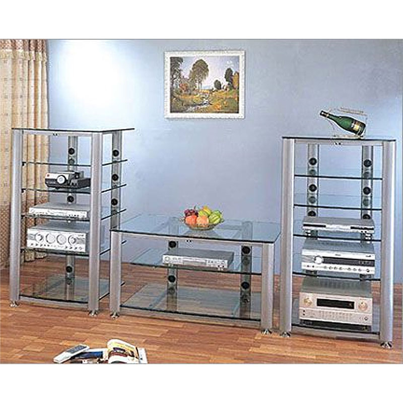 """Vti Hgr Series 60 Inch Wide Av Tv Stand Silver With Clear Intended For Glass Shelves Tv Stands For Tvs Up To 60"""" (View 17 of 20)"""