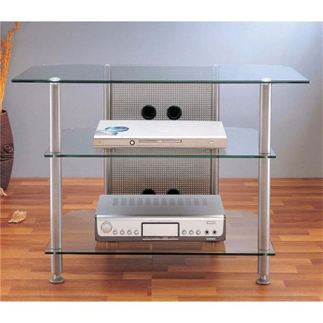 Vti Manufacturing Agr37s 4 Silver Poles 3 Glass Shelves 37 With Regard To Tv Stands Fwith Tv Mount Silver/black (View 17 of 20)