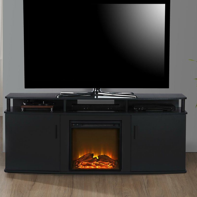 """Wade Logan® Elian Tv Stand For Tvs Up To 70"""" With With Glass Tv Stands For Tvs Up To 70"""" (View 8 of 20)"""