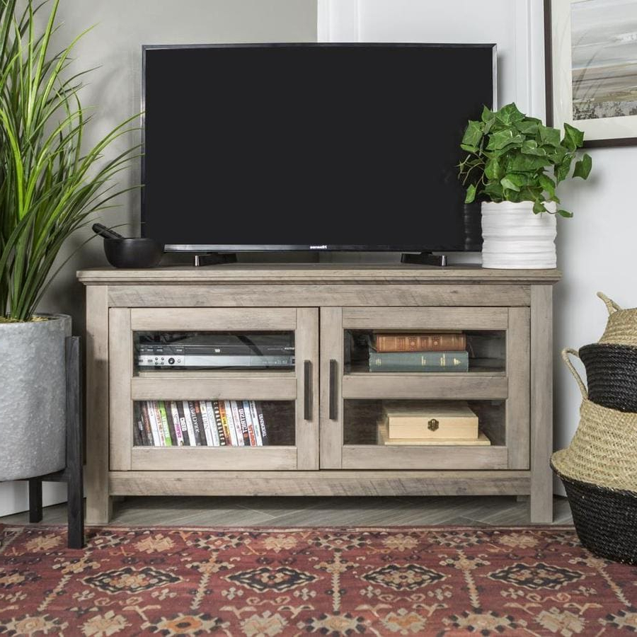 Walker Edison 44 In Transitional Modern Farmhouse Wood Pertaining To Hex Corner Tv Stands (View 10 of 20)
