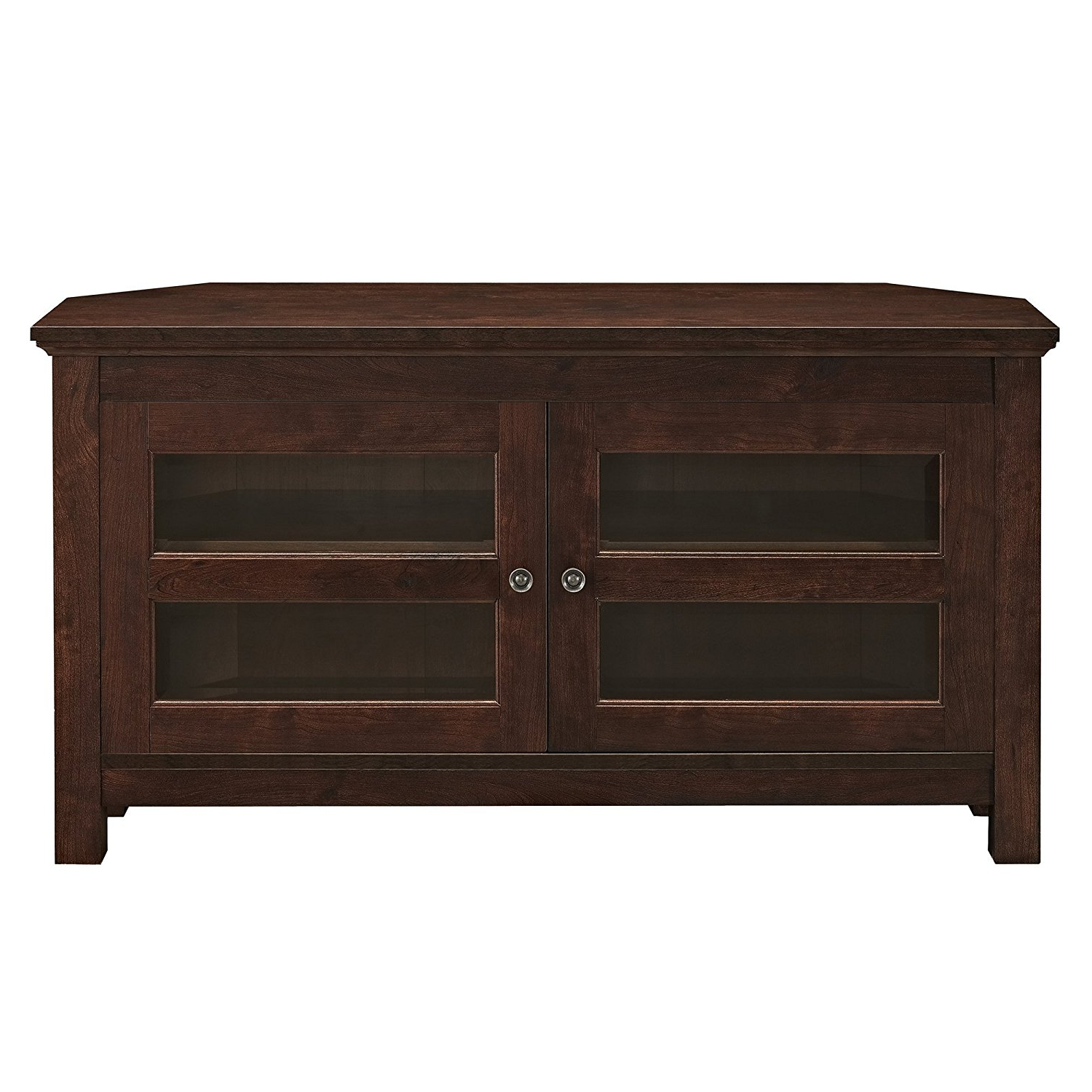 Walker Edison 44 Inch Cordoba Corner Tv Stand Console In Intended For Tasi Traditional Windowpane Corner Tv Stands (View 4 of 20)