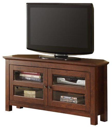 Walker Edison 44 Inch Corner Wood Tv Stand Console In Exhibit Corner Tv Stands (View 7 of 20)