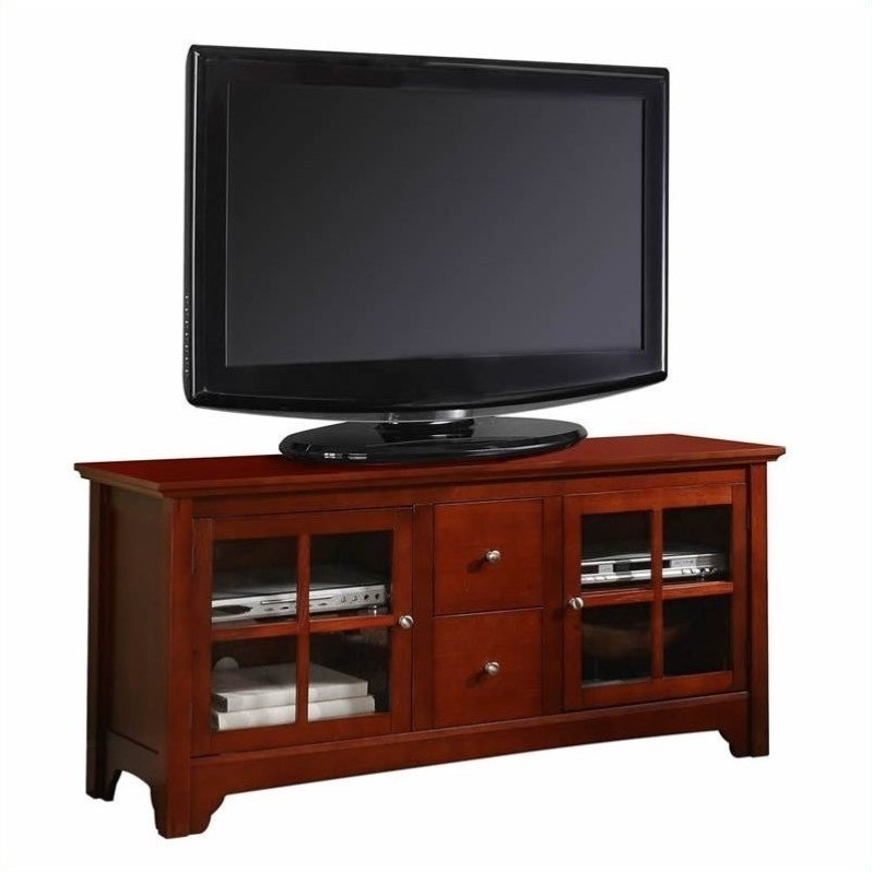 Walker Edison 52 Inch Solid Wood Tv Stand With Drawers Intended For Tv Stands With Drawer And Cabinets (View 13 of 20)
