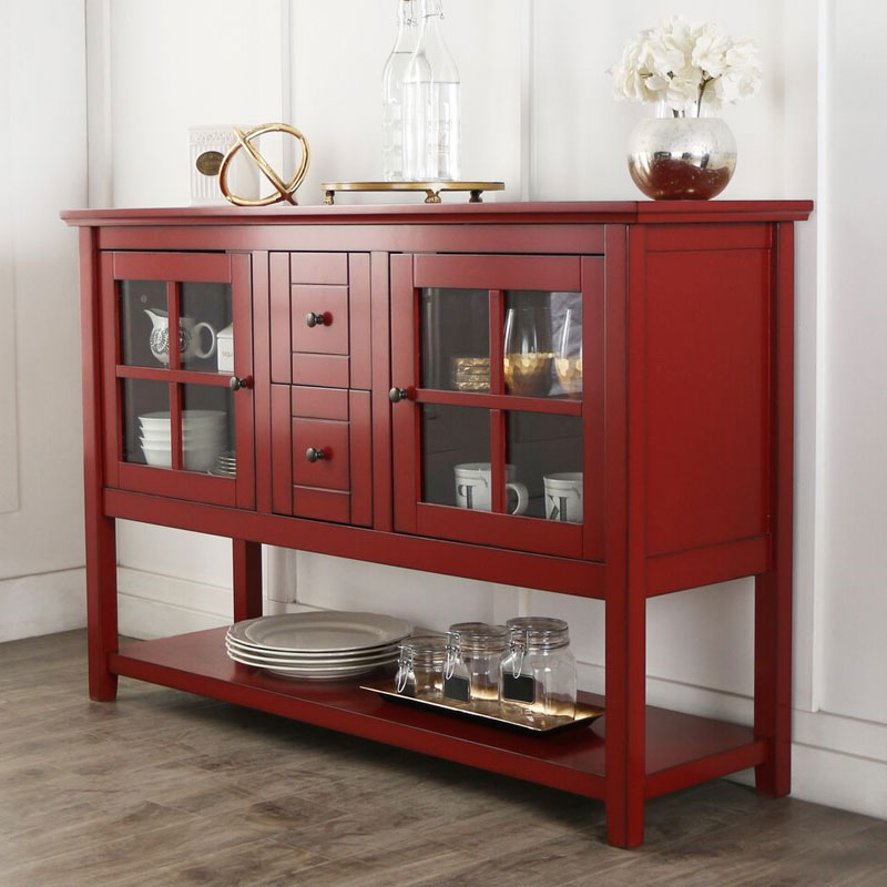 Walker Edison 55 Inch Highboy Table Tv Stand Antique Red In Tv Stands With Drawer And Cabinets (View 16 of 20)