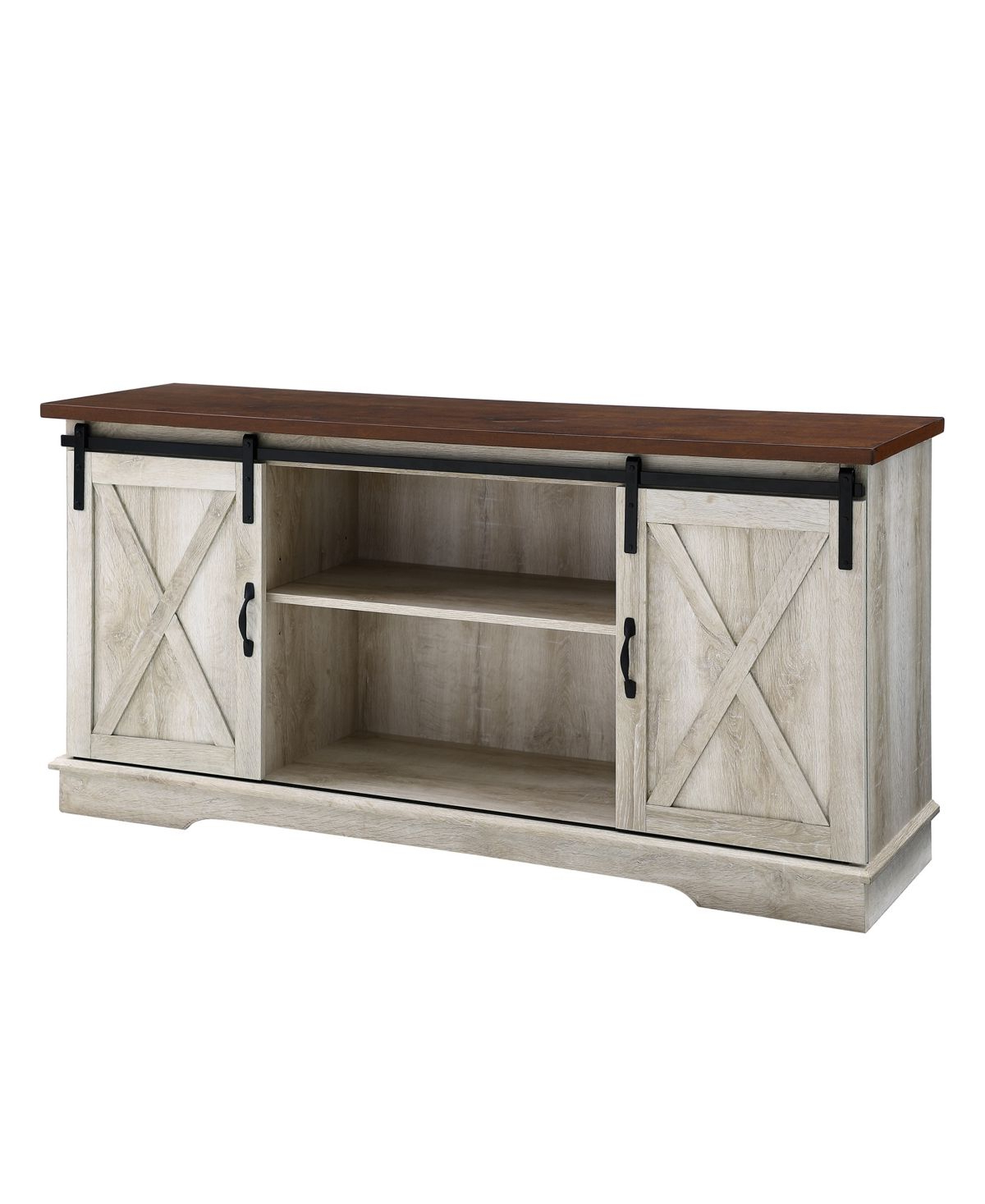 """Walker Edison 58"""" Farmhouse Tv Stand With Sliding Barn With Regard To Jaxpety 58"""" Farmhouse Sliding Barn Door Tv Stands (View 3 of 20)"""