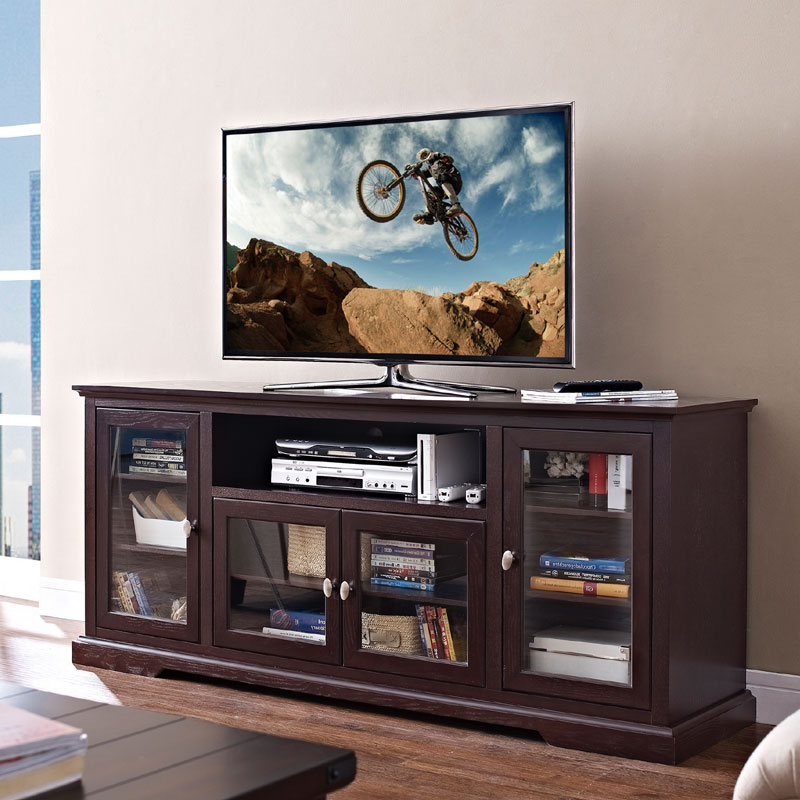 """Walker Edison 70 Inch Highboy Tv Cabinet Espresso W70c32es Pertaining To Glass Tv Stands For Tvs Up To 70"""" (View 18 of 20)"""