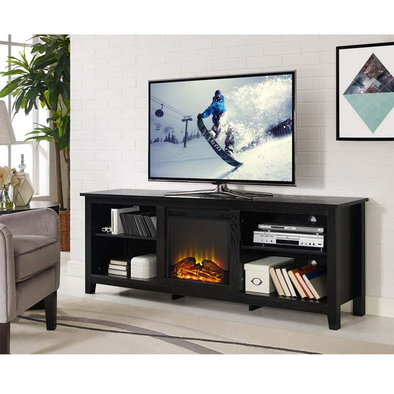 """Walker Edison 70 Inch Tv Stand With Electric Fireplace With Regard To Glass Tv Stands For Tvs Up To 70"""" (View 15 of 20)"""