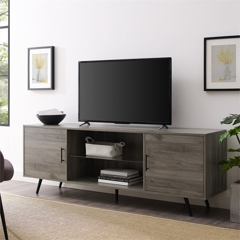 """Walker Edison 70"""" Mid Century Modern Wood Tv Stand In Inside Oliver Wide Tv Stands (View 6 of 20)"""