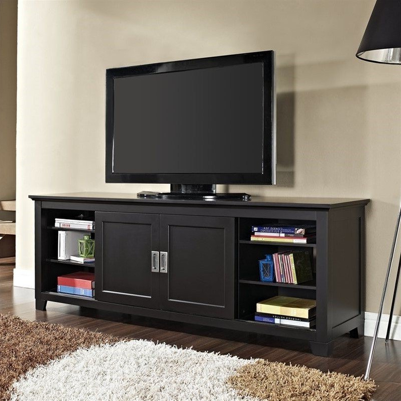 """Walker Edison 70"""" Wood Tv Console With Sliding Doors In With Regard To Dark Brown Tv Cabinets With 2 Sliding Doors And Drawer (View 10 of 20)"""